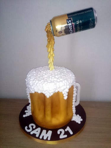 suspended beer-cider can novelty birthday cake