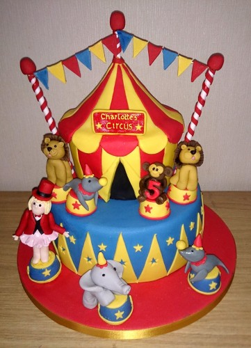 circus themed novelty birthday cake with lions elephant seals monkey girl ringmaster