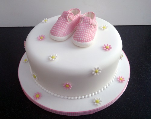 little pink gingham shoes birthday cake