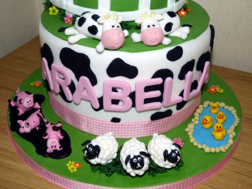 2 Tier Down on the Farm Birthday Cake