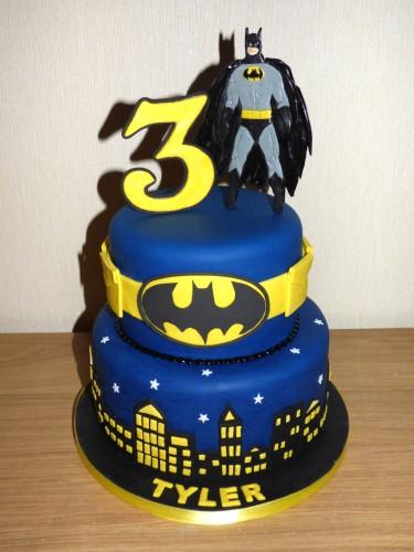 Batman Themed 2 Tier Birthday Cake