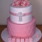 2 Tier Pink and White Christening Cake