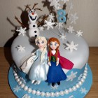 Disney Frozen Themed Cake With Anna, Elsa and Olaf