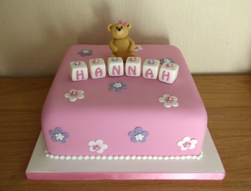 Floral Christening Cake With Bear