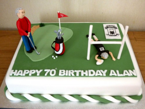 Golf and Rugby Themed Birthday Cake