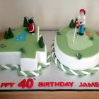 Golfing Themed 40th Birthday Cake