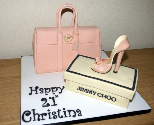 Mulberry Pink Handbag with Jimmy Choo Shoe Birthday Cake