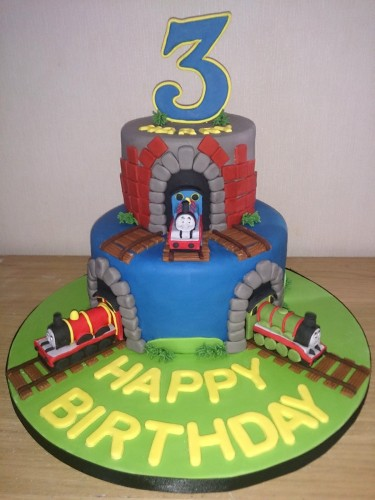 Thomas the Tank Engine Themed 2 Tier Cake With Tunnels and Track