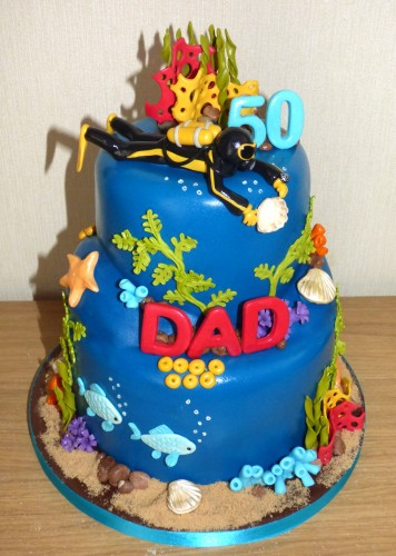 Diving Inspired Underwater Novelty 2 Tier Birthday Cake