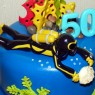 Diving Inspired Underwater Novelty 2 Tier Birthday Cake thumbnail