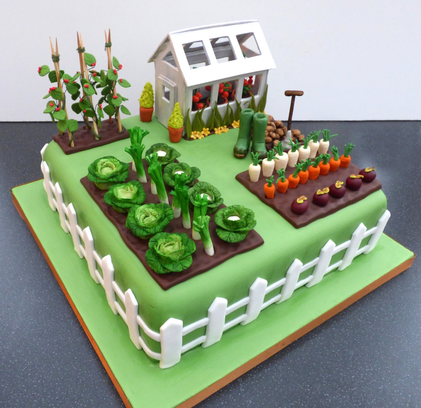 Gardeners Green House Inspired Birthday Cake Susies Cakes
