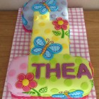 Patchwork Style 1st Birthday Cake Flowers and Butterflies