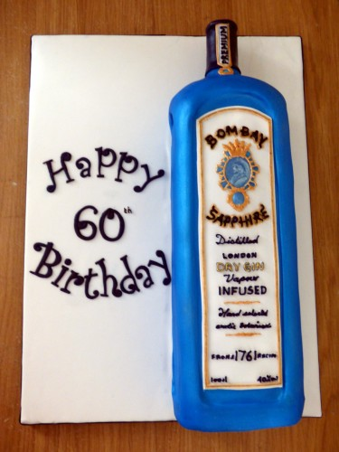 Bombay sapphire Gin birthday cake