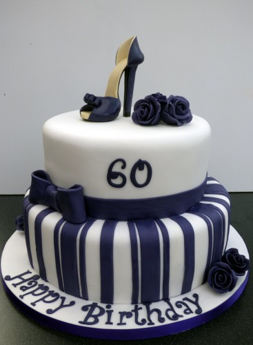 Glamourous 2 tier 60th birthday cake with stiletto shoe
