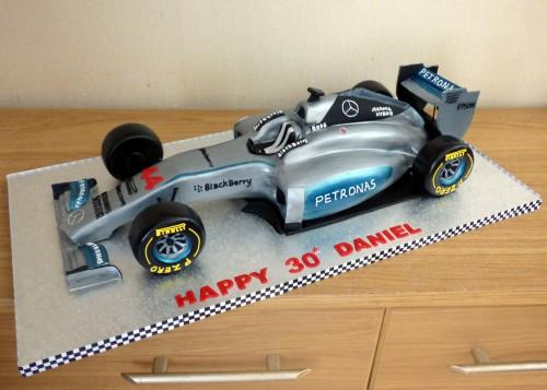Lewis Hamiltons mercedes f1 race car cake