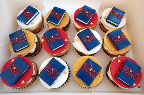 corporate book launch themed cupcakes