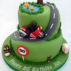 countryside motorbike ride themed birthday cake