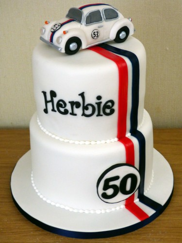 herbie inspired 2 tier birthday cake with topper