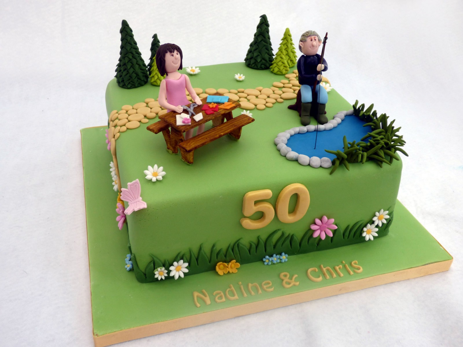 Joint Themed Birthday Cake Gardening Fishing And Crafting Susies