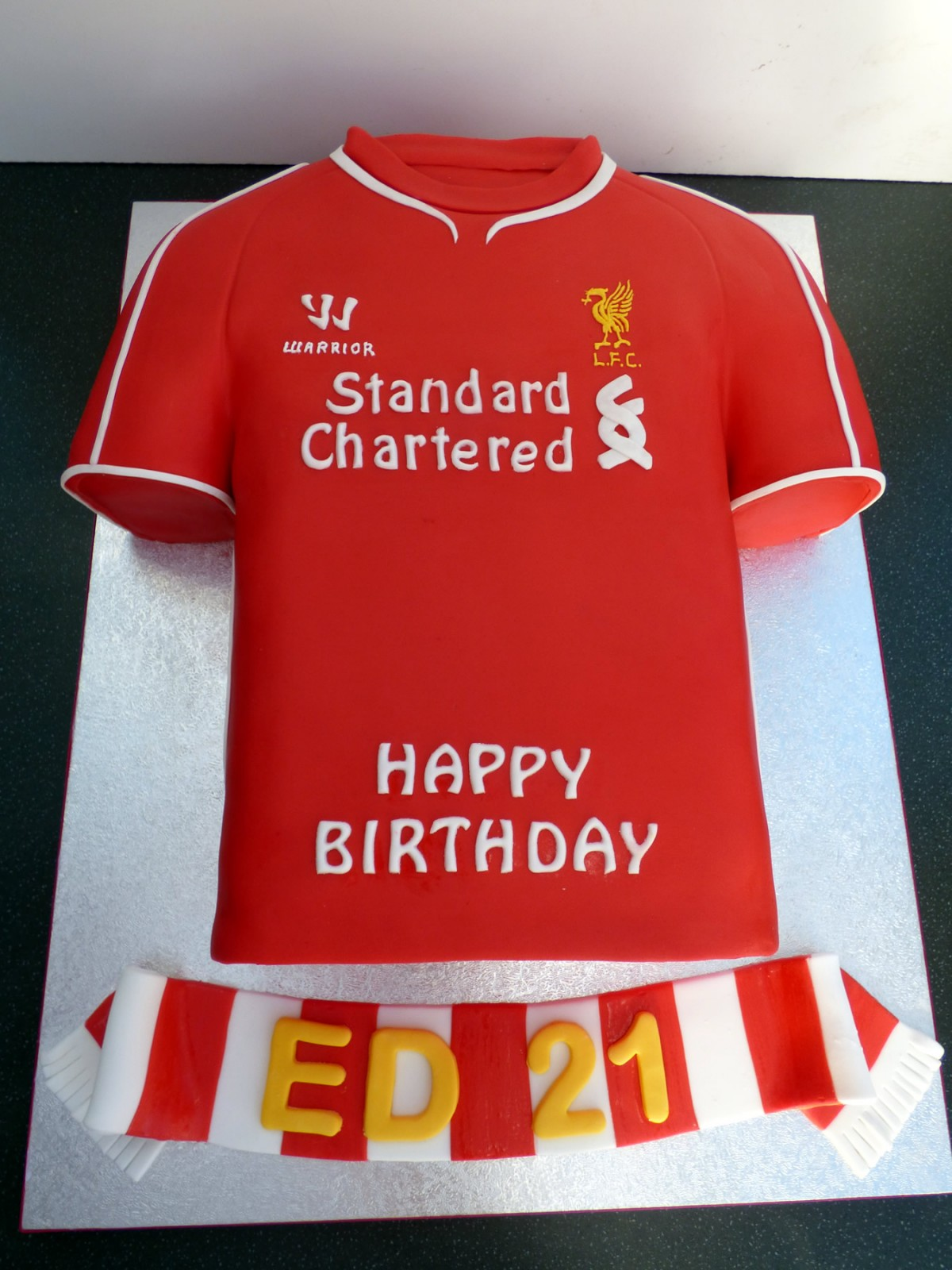 Liverpool fc 2015 football shirt cake susie 39 s cakes for Football t shirt cake template