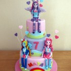 my little pony equestria girls themed 3 tier birthday cake