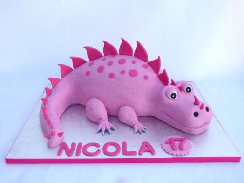 pink dinosaur birthday cake