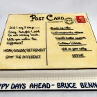 post card themed corporate retirement cake