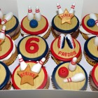 ten pin bowling themed cupcakes