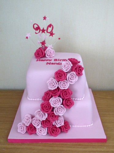 2 tier 90th birthday cake with roses