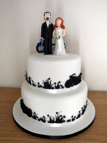 2 tier motorbike themed wedding cake