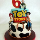 2 tier toy story cake with woody jessie and buzz lightyear