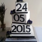 3 tier blocks with wedding date wedding cake