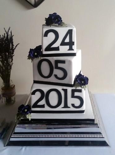 3 tier blocks with wedding date wedding cake