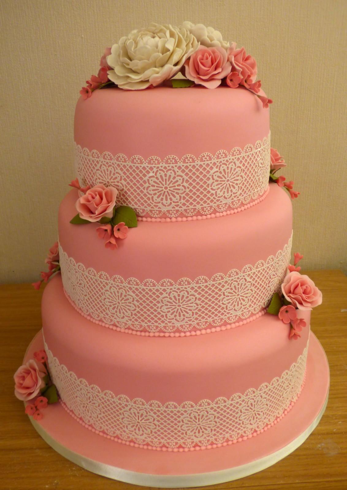 3 Tier Lace Wedding Cake With Peonies 171 Susie S Cakes