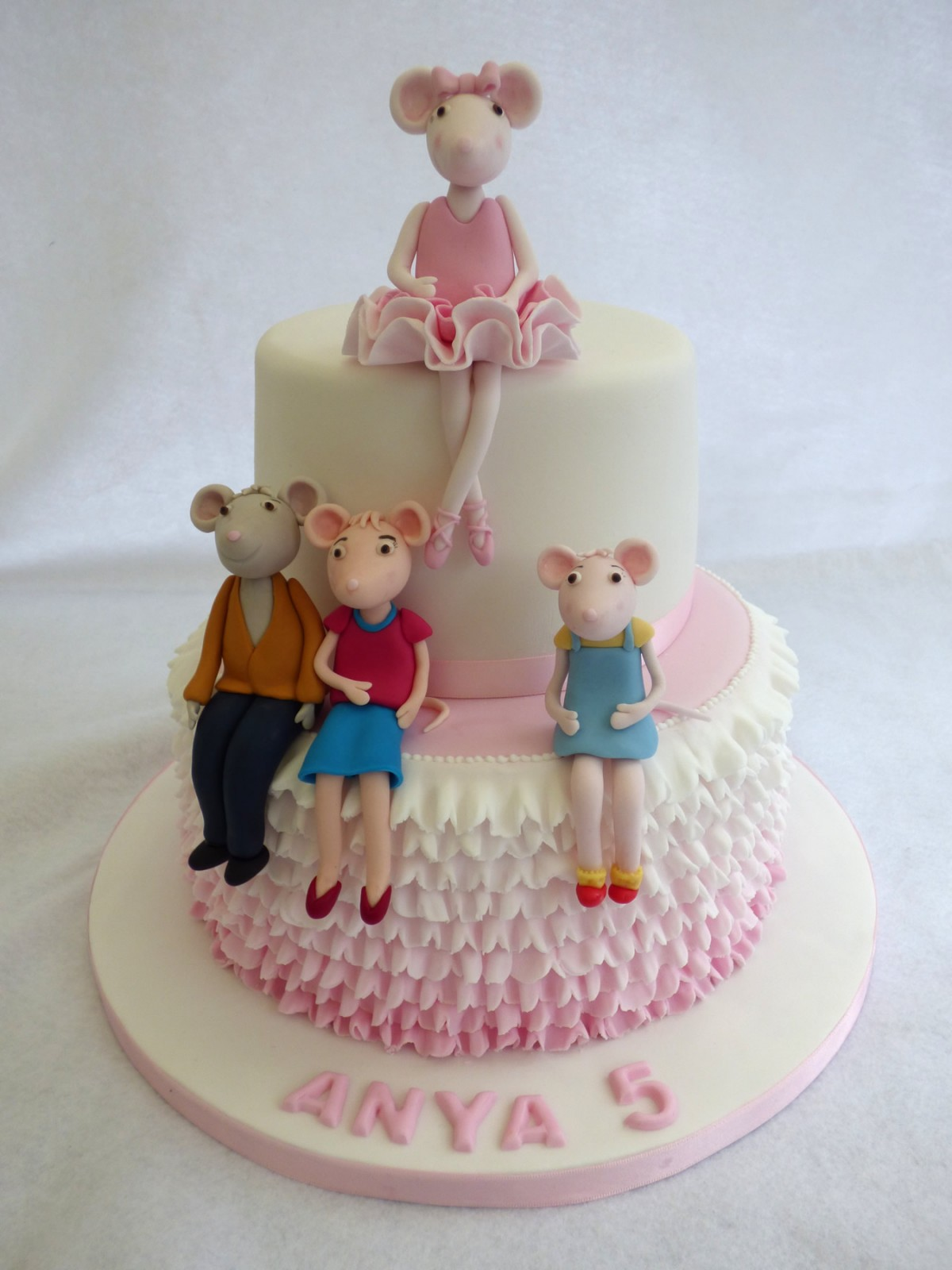 Pleasing 2 Tier Angelina Ballerina Birthday Cake Susies Cakes Personalised Birthday Cards Paralily Jamesorg