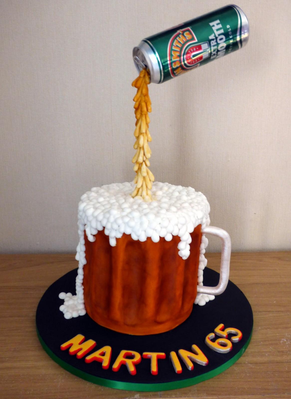 Astounding John Smiths Suspended Beer Can Birthday Cake Susies Cakes Birthday Cards Printable Benkemecafe Filternl