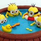minions in a hot tub birthday cake