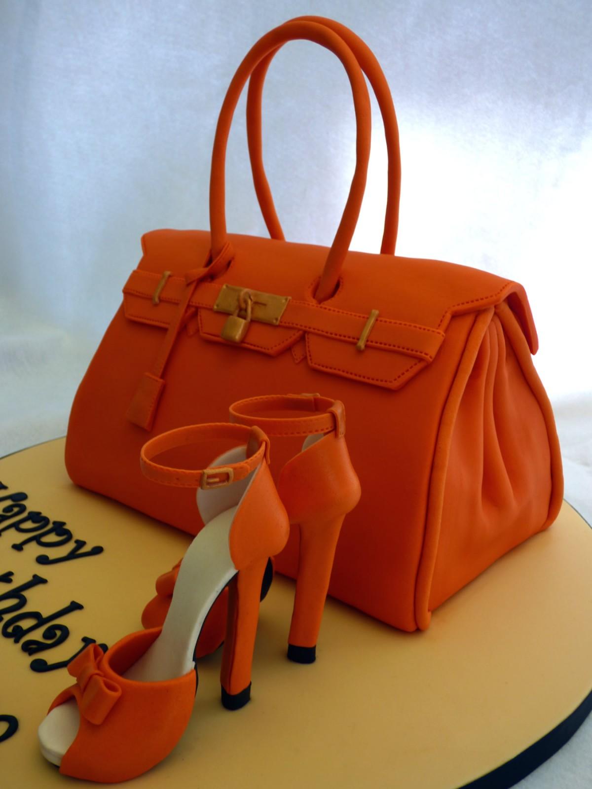 Handbag Design Birthday Cake : Orange Designer Handbag and Shoes Birthday Cake   Susie s ...
