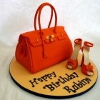 orange designer handbag and shoes birthday cake