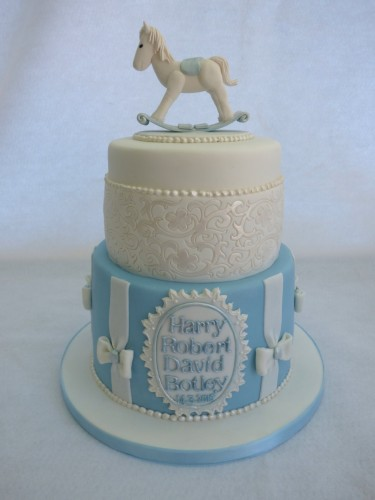 rocking horse 2 tier christening cak