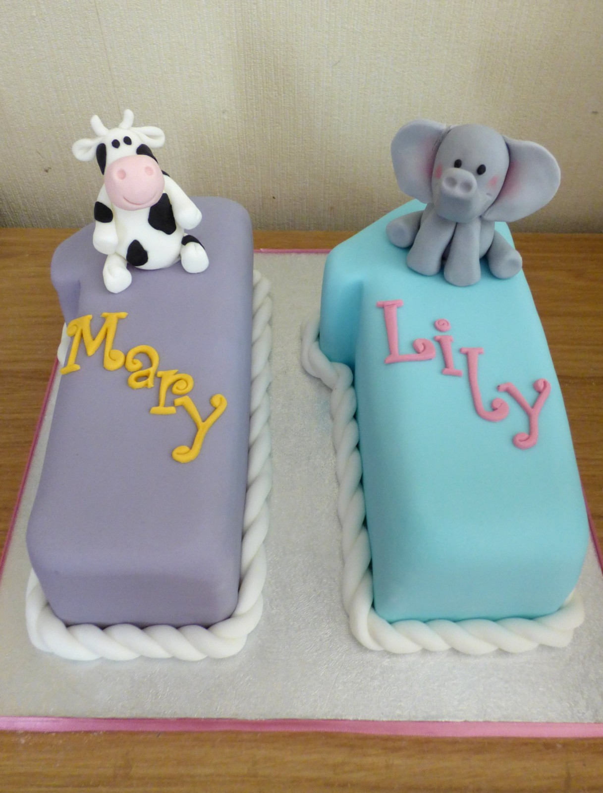 Twins 11th Birthday Cake Cow and Elephant Themed with ...