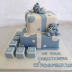 2 tier boys christening cake with bears