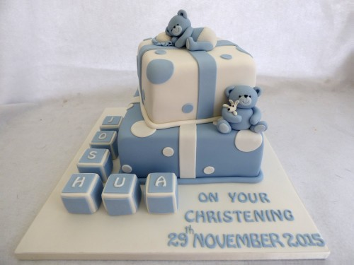 2 tier boys christening cake with bears