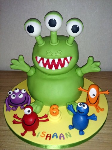 3 eyed green monster and friends fun birthday cake