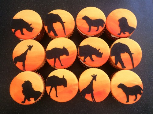 African jungle animals sunset silhouette cupcakes