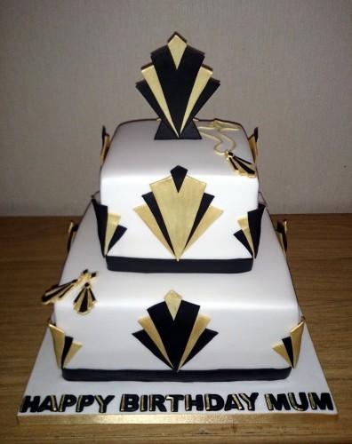 art deco inspired 2 tier birthday cake