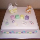 baby shower christening cake pram teddy blocks and bunting