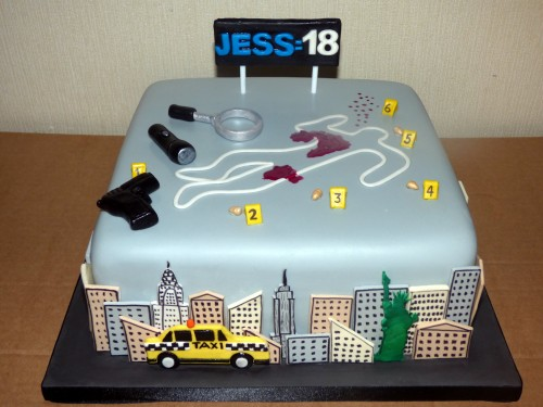 csi new york themed birthday cake chalk outline