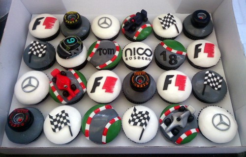 f1 nico rosberg mercedes themed cupcakes