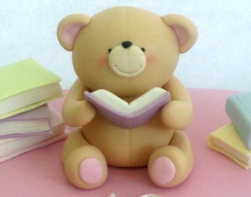 forever friend bear reading books cake